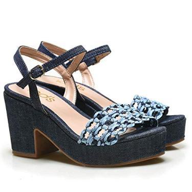 Sandália Plataforma em Jeans e Tira Vazada Iod's – 207006 Jeans e Azul Bebê-35