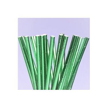 Canudo de Papel Metalizado Verde c/25 Unidades - 1 Pacote