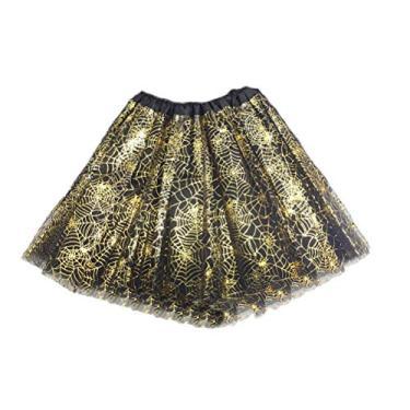 Saia tutu de Halloween KesYOO, saia de balé e saia com babados em camadas, Dourado, tamanho �nico