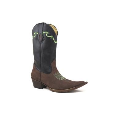 Bota Texana Masculina Couro Crazy Horse Cafe E Floater Preto - Silverado Botas