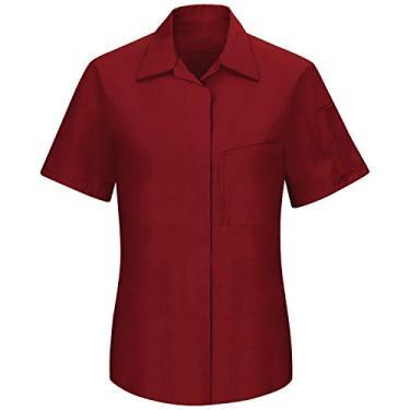Imagem de Camisa feminina Red Kap de manga curta Performance Plus Shop com tecnologia OilBlok, Fireball Red With Charcoal Mesh, X-Large