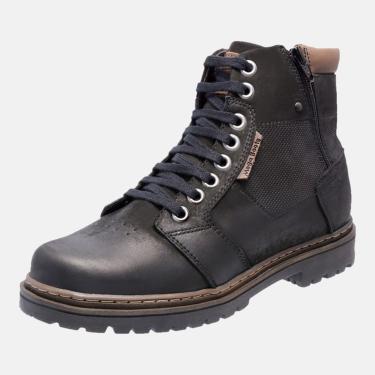 Bota Coturno Em Couro Mega Boots 6027 Preto-chocolate  masculino