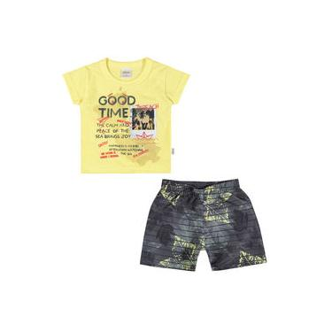 Conjunto Infantil 01 a 03 Anos Elian Camiseta e Bermuda The Ocean Is Where Amarelo