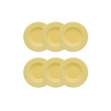 Conjunto 6 Pratos Fundos 23Cm Mendi Sicília Amarelo Oxford