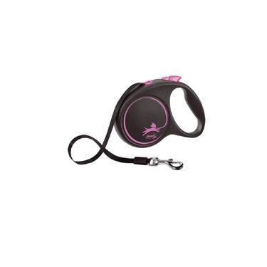 Guia Flexi Black Design Fita Grande 5M - Rosa Para Cães