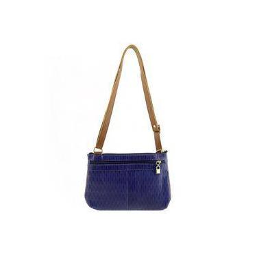 Bolsa Transversal Pequena Azul com Caramelo