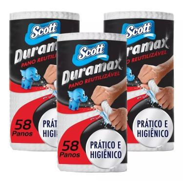 Kit 3 Rolos Multiuso Branco Duramax - Com 174Un Scott