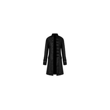 Casaco masculino de inverno quente vintage fraque Sobretudo com botões casaco