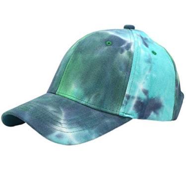 KESYOO boné de beisebol com estampa tie dye ajustável e simples Dad Tucker boné com proteção UV rabo-de-cavalo, Azul e verde, 58 cm