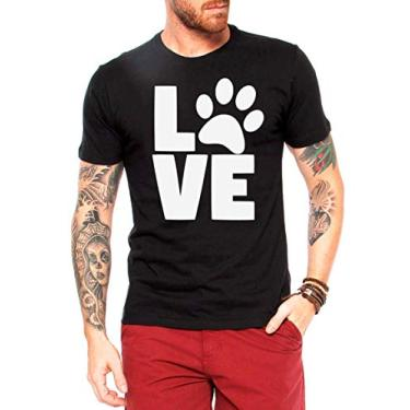 Camiseta Love Pet - Camisas Engraçadas e Divertidas - Cachorro - Gato - Dog - Cat - Tumblr (Branco, G)