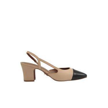 4cbd3d43f1 Sapato Scarpin Chanel Bico Quadrado Salto Baixo Bicolor Carrano 143401