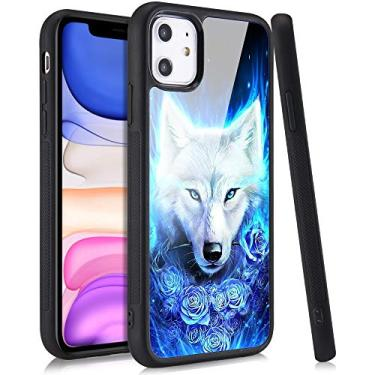 Capa para celular LuGeKe com estampa de lobo legal para iPhone 11, capa com estampa de flores de glitter, capa de silicone macio com folha de metal antiarranhões bumper protetora para meninos e homens (lobo rosa)