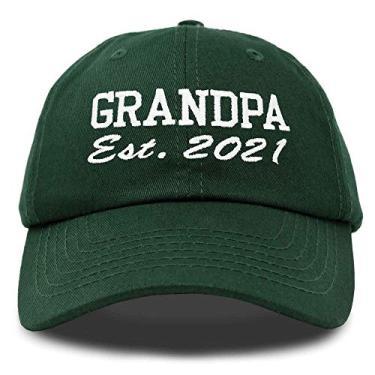 Imagem de Boné DALIX New Grandpa Hat Est 2019 2020 divertido presente bordado Dad chapéu de algodão, Dark Green, One Size