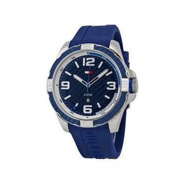 f35a82fbfab Relógio Tommy Hilfiger Masculino modelo 1791091 pulseira em silicone azul  com Calendário e a prova D