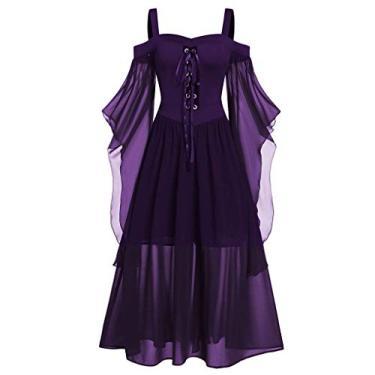 Vestidos góticos para mulheres plus size de renda cruzada camiseta vestido manga borboleta irregular cosplay Chaofanjiancai, 1-dark Purple, Large