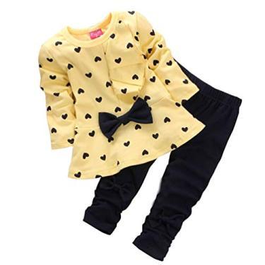 Conjunto de roupas infantis para meninas com estampa floral, conjunto para combinar com as irmãs, Amarelo, 4-5T