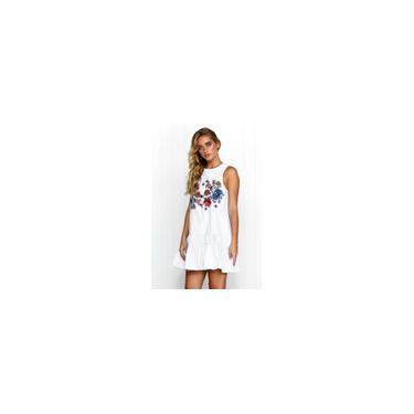 Imagem de Impressão Floral Branco O Pescoço Dress Mulheres Voltar Botão Plissado Vestidos De Praia Verão