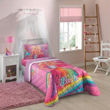 fb8bdab95d Colcha Matelassê Solteiro Estampada Barbie Reino do Arco-Íris 1