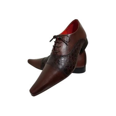 Sapato Masculino Italiano em Couro Marrom Fosco e Croko Ref: 715