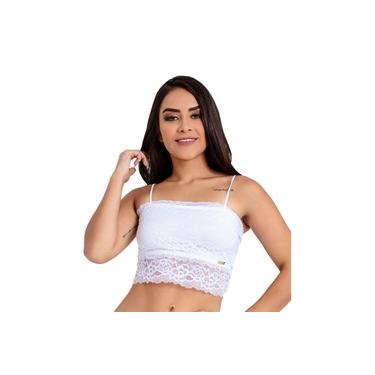 Imagem de Sutiã IMI Lingerie Top Cropped Em Renda Grey Branco