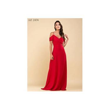Vestido de festa longo de chiffon com corpo plissado e manguinha vermelho ref. 2474