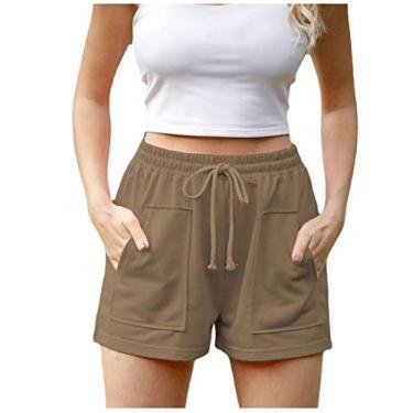 Doufine Short feminino de cintura alta para lazer e lazer, Caqui, XL