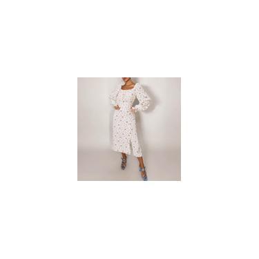 Vestido feminino de manga comprida maxi estampa floral vestidos quadrada decote alto cintura alta festa casual vestido longo plus size Branco M
