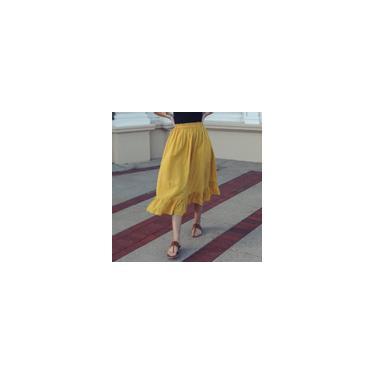 Zanzea Feminino Primavera Preppy Liso com Folho Casual Elástico Saia Saia Longa de Algodão Plissado Folgado Amarelo 3XL