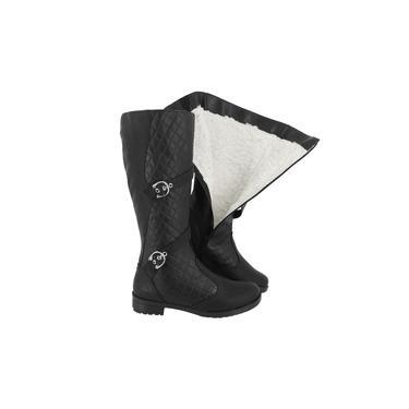 Bota Feminina Montaria de Pelo 100% forrada Lã Neve Inverno Impermeável A3603