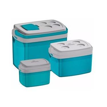 Combo 3 Cooler 32, 12, 5 Litros Azul Caixa Térmica Soprano
