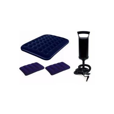 Colchão Inflável Casal Bestway e Bomba de Inflar Manual Q1 e 02 Travesseiros