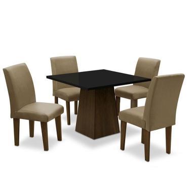 Conjunto de Mesa para Sala de Jantar com 4 Cadeiras Florença Fit - Dobue - Castanho / Preto / Mascavo