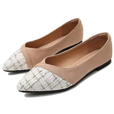 Sapato feminino retrô xadrez LU Sapato plano com laço e nó de balé confortável Sapatos de bico quadrado para usar no trabalho Mocassim sem cadarço, Pointy-apricot-8113, 7.5