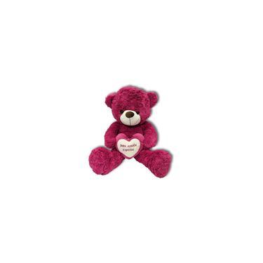 Imagem de Urso Pelúcia c/ Coração Rosa 50cm Presente Dos Namorados