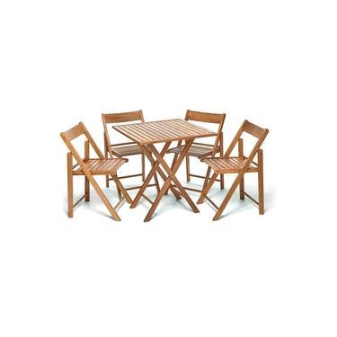Jogo De Mesa Dobravel Com 4 Cadeiras De Madeira Ideal Para Bar E Restaurante Gourmet Castanho