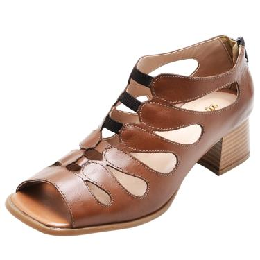 Sandália em Couro Miuzzi Chocolate  feminino
