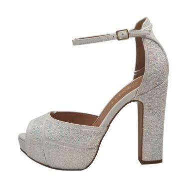 Sandália Week Shoes Salto Grosso 3D Glitter Furtacor Branco  feminino