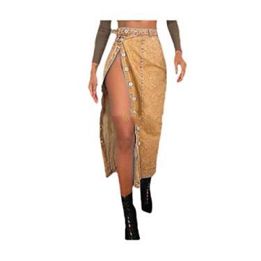 Saia feminina Zimaes moderna dividida com ajuste slim jeans com botões, Amarelo, X-Small