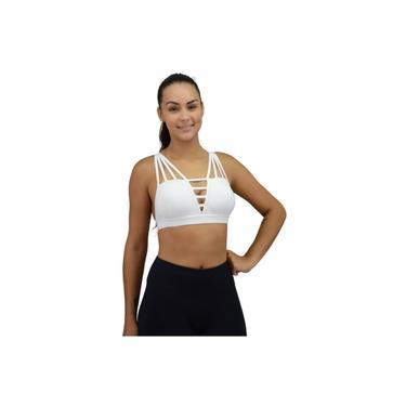 Top Fitness De Tiras Com Bojo Poliamida Branco
