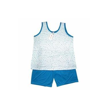 Pijama Bermudoll Regata Plus Size Feminino Luna Cuore Floral Azul