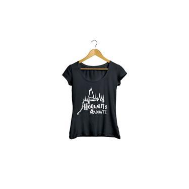 Camiseta Baby Look Harry Potter Hogwarts feminino preto