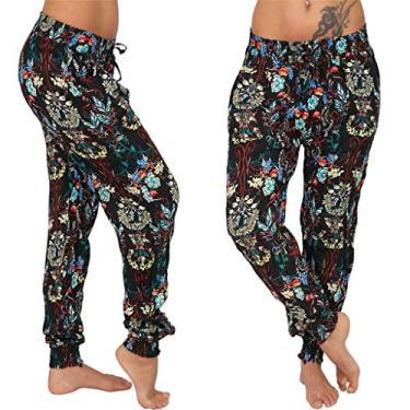 SAFTYBAY Calça feminina boho, calça harém de ioga com cintura franzida plus size harém calça de verão praia floral boêmio (preta, M)