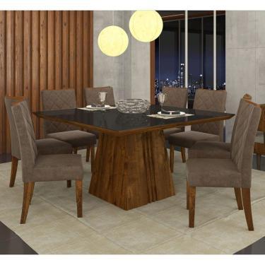 fd241112ca Sala de Jantar Mesa Itália 140cm e 8 Cadeiras Golden Malbec Preto Marrom -