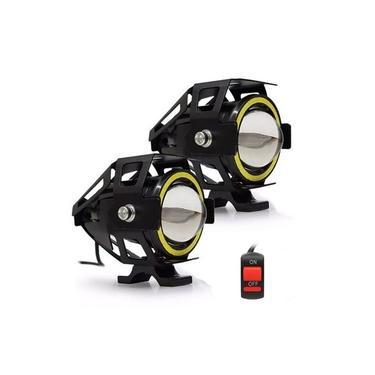 Farol de Milha Moto O Par Com Interruptor Universal Angel Eyes Led Auxiliar Neblina (ZE-0050)