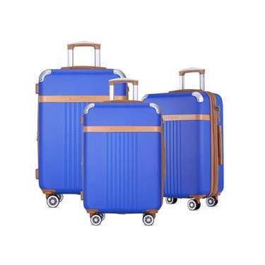 Kit 3 Malas Viagem Pmg Expansivas Tsa 8 Rodas 360  Azul