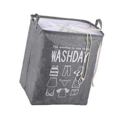 Imagem de Cesto de roupa suja de algodão dobrável de 75L da Hemoton, cesto de roupa suja com cordão, bolsa de armazenamento de brinquedos, organizador de roupas com alça para banheiro, quarto, cinza