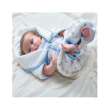 Cobertor Baby Sac Jolitex Saco de Dormir Bebê Berço Algodão Azul