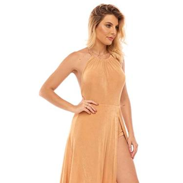 Vestido limone longo slink Dourado/M/BEGE