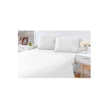 Jogo de lençol casal queen 03 peças Decora - microfibra 170 fios - jogo de cama queen com 2 fronhas cor branco