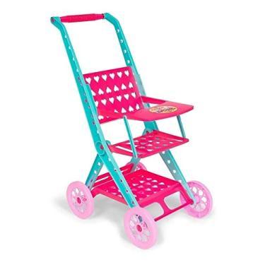 Imagem de Carrinho De Boneca Passeio Do Bebê Dobrável Brinquedo Rosa